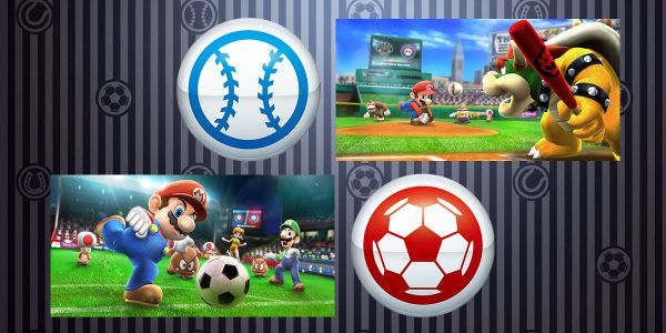 Banner for a Play Nintendo opinion poll on who to pick as a leader in baseball and soccer in Mario Sports Superstars. Original filename: <tt>2x1-MSS_team_capt.0290fa98.jpg</tt>