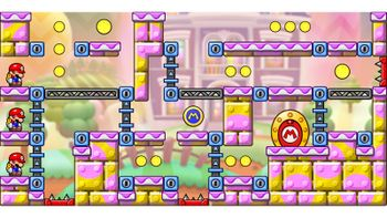 Miiverse screenshot of the 63rd official level in the online community of Mario vs. Donkey Kong: Tipping Stars