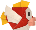 An origami Cheep Cheep from Paper Mario: The Origami King.