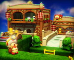 The illustration of Shy Guy Heights in Captain Toad: Treasure Tracker.