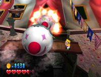Clown missiles being shot at Wario in Wario World.