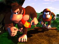Donkey Kong and Diddy Kong travel through the jungle.