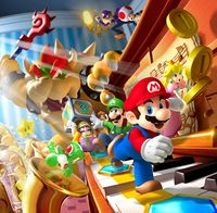 The main artwork for Mario Party DS, which is used on the game's box art