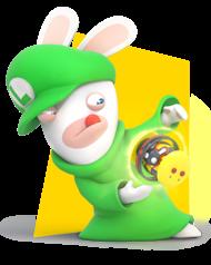 Artwork of Rabbid Luigi in Mario + Rabbids Kingdom Battle.