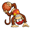 A sticker of Diddy Kong