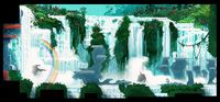 Concept artwork from Donkey Kong Country Returns showing waterfalls in a jungle-like area.
