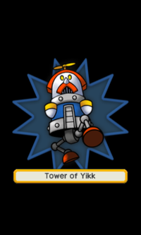An artwork of the giant boss in the gauntlet before fighting it. In this case, it's Tower of Yikk.