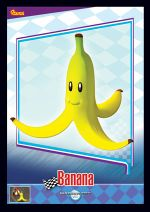 The Banana card from the Mario Kart Wii trading cards