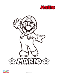 Blank version of a picture in a paint-by-number activity with Mario