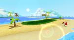 View of Shy Guy Beach in Mario Kart Wii