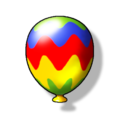 Artwork of a rainbow Item Balloon from Diddy Kong Racing DS