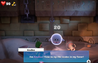 AnuBoo, a Boo from Luigi's Mansion 3, found in the Tomb Suites.