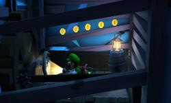 Luigi riding a lift.
