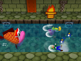 Wario gets eaten in Cheep Cheep Chase from Mario Party 3.