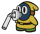 The Yellow Slurp Snifit sprite from Paper Mario: Color Splash