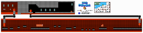 The level's full layout in the NES version.
