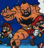 "Zangief from the Club Nintendo comic ""Super Mario Klemp-Won-Do: Muskeln sind nicht alles!""."