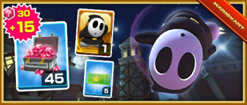 The Black Shy Guy Pack from the 2019 Winter Tour in Mario Kart Tour