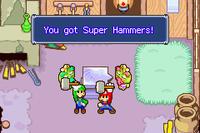Mario and Luigi receiving the Super Hammers in both the original Mario & Luigi: Superstar Saga and Mario & Luigi: Superstar Saga + Bowser's Minions