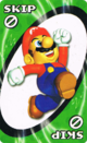 The Green Skip card from the Nintendo UNO deck (featuring Mario)