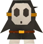 An origami Black Shy Guy from Paper Mario: The Origami King.