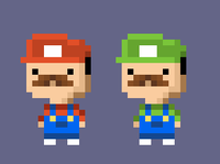 Plumber A and B costumes from Tiny Tower based on Mario brothers.