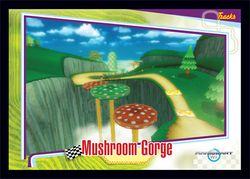 The Mushroom Gorge card from the Mario Kart Wii trading cards