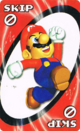 The Red Skip card from the Nintendo UNO deck (featuring Mario)