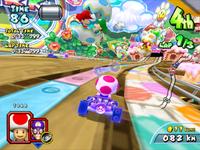 Toad driving under Baby Mario and Baby Luigi in Yoshi Park 1 from Mario Kart Arcade GP 2