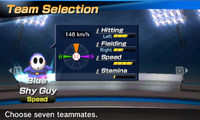 Blue Shy Guy's stats in the baseball portion of Mario Sports Superstars