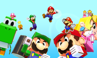 The final frame of the victory parade from Mario & Luigi: Paper Jam.