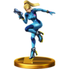 Zero Suit Samus's trophy, from Super Smash Bros. for Wii U.