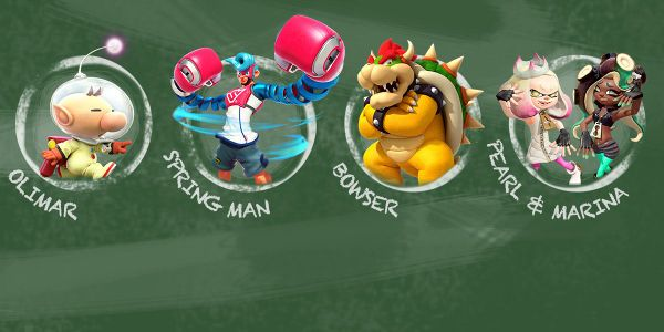 Banner for a Play Nintendo opinion poll on which Nintendo character could be a great substitute teacher. Original filename: <tt>2x1-Arms_arm_poll_99UE2Aw.0290fa98.jpg</tt>