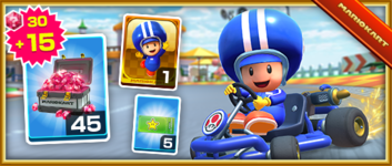 The Toad (Pit Crew) Pack from the Paris Tour in Mario Kart Tour