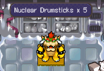 """Screenshot of an error in Mario & Luigi: Bowser's Inside Story where TNT Drumsticks are displayed as """"Nuclear Drumsticks"""" when hitting a specific block"""