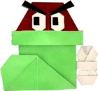 An origami Shoe Goomba from Paper Mario: The Origami King.