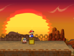 Screenshot of Mario at a hidden? Block location in Riverside Station, in Paper Mario: The Thousand-Year Door.