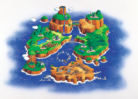 A map of Dinosaur Land, from Super Mario World.