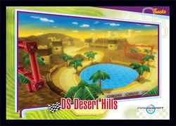 The <small>DS</small> Desert Hills card from the Mario Kart Wii trading cards