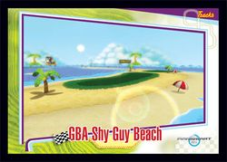 The <small>GBA</small> Shy Guy Beach card from the Mario Kart Wii trading cards