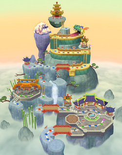 Artwork of the Pagoda Peak board from Mario Party 7.