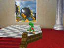 Yoshi facing the picture of Bob-omb Battlefield