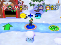 A Whacka popping out in Snowflake Lake from Mario Party 6