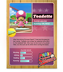 Level 1 Toadette card from the Mario Super Sluggers card game