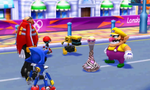 Wario gives Dr. Eggman the fog urn while Metal Sonic, Orbot, and Cubot watch