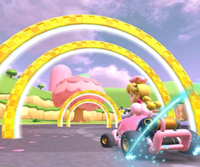 The icon of the Dry Bones Cup challenge from the Peach Tour and the Peach Cup challenge from the Cat Tour in Mario Kart Tour.