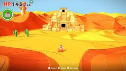 A view of Scorching Sandpaper Minor in Paper Mario: The Origami King.