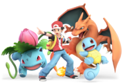 Grouped artworks of the Pokémon Trainer and his Pokémon in Super Smash Bros. Ultimate.