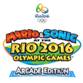 The logo of Mario & Sonic at the Rio 2016 Olympic Games Arcade Edition.