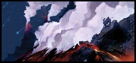 Concept artwork of a volcano region in Donkey Kong Country Returns
